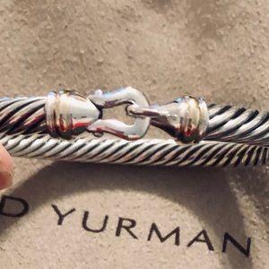 DAVID YURMAN 5mm BUCKLE CABLE SS GOLD BRACELET